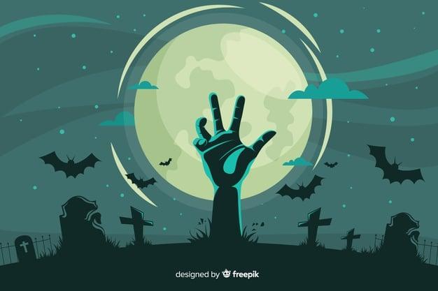 Friedhof und Zombi-Hand