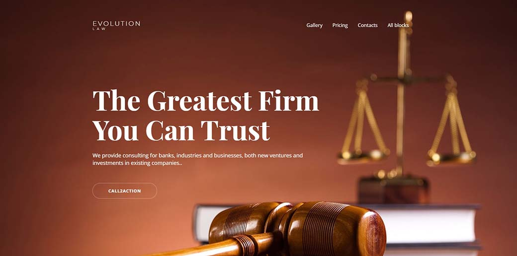 Evolution - law firm landing page