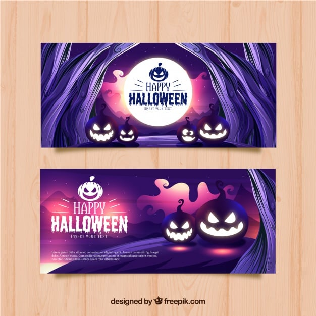 Halloween-Banner mit Kürbissen
