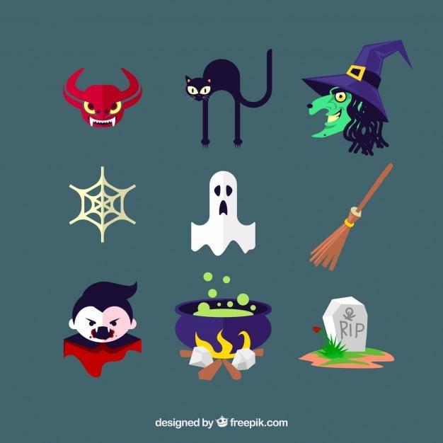 Halloween-Icons mit Hexenkram