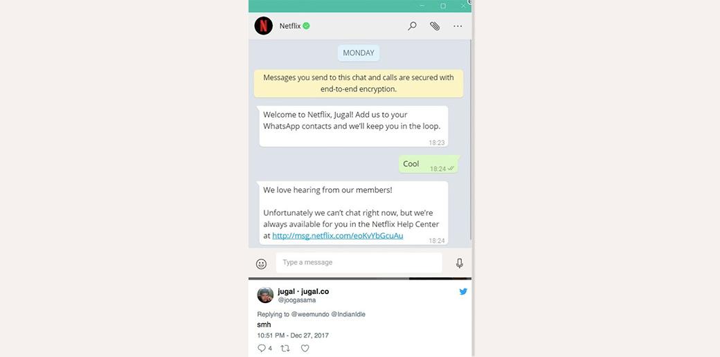 Netflix using messages