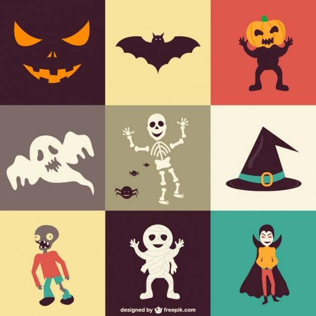 Icon-Set mit Geistern und Kürbissen