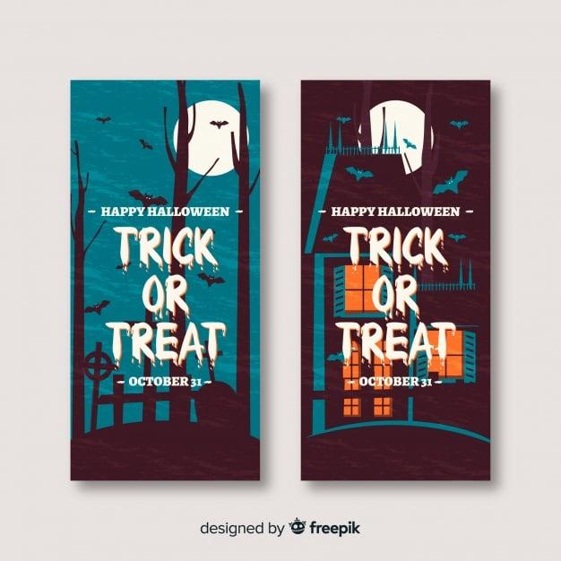 Halloween-Banner im Flat-Design