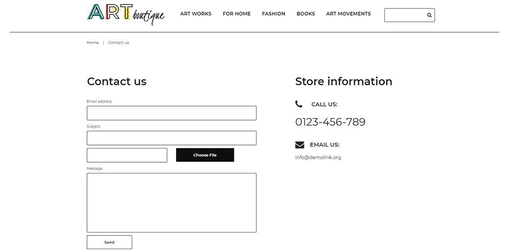subscription box website design - contact information