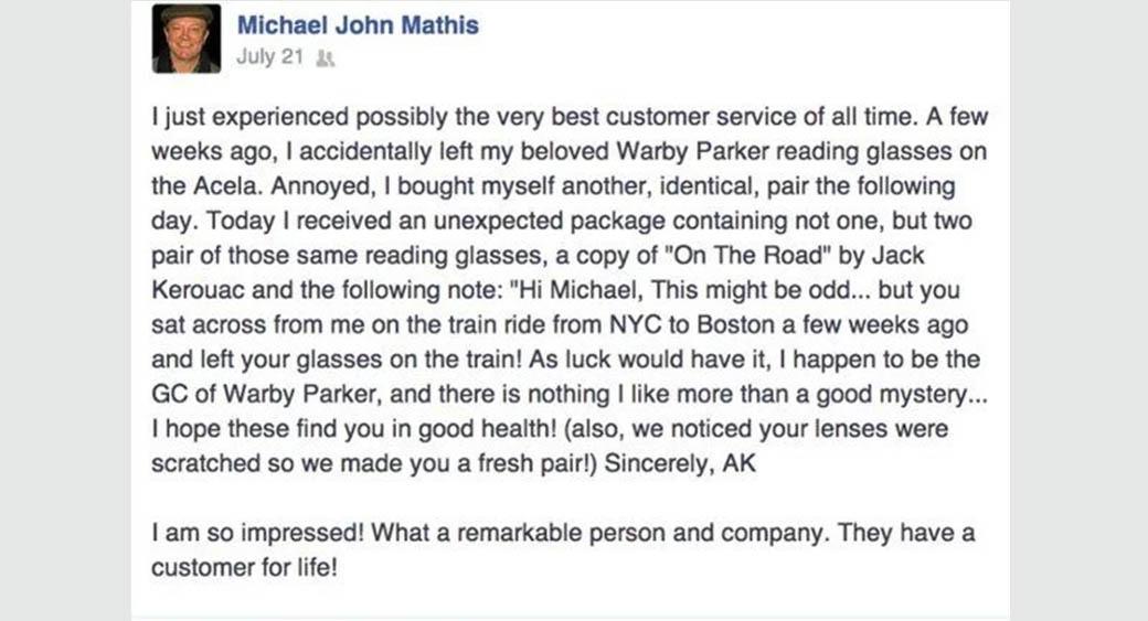 positive customer feedback - a customer for life