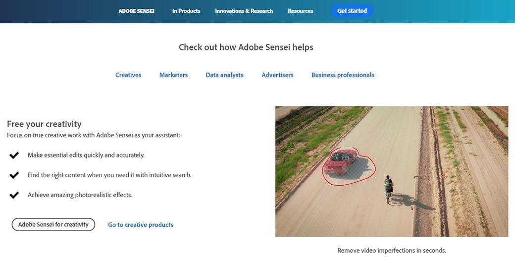 AI in web development example - Adobe Sensei