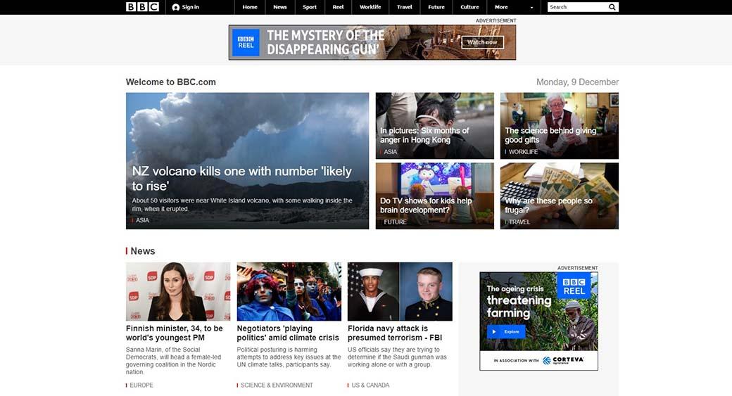 bbc website design