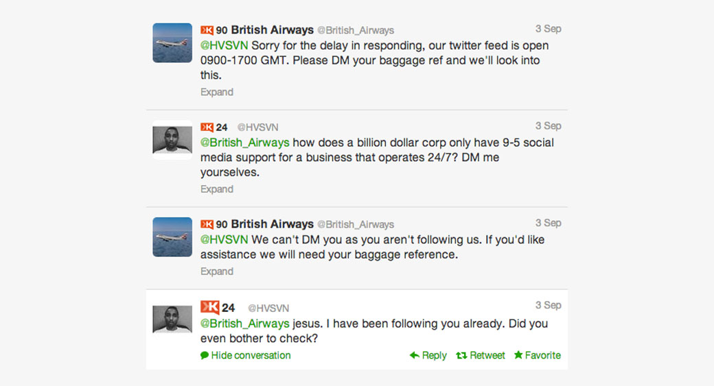 communication with customers by British Airways
