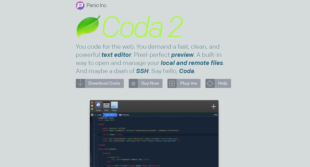 coda2 for web design on Mac