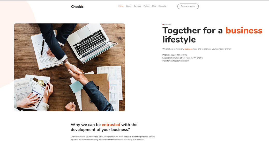 using a website template for business