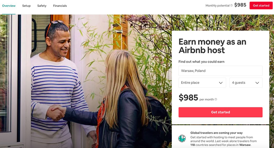 PPC Landing Page Airbnb booking form