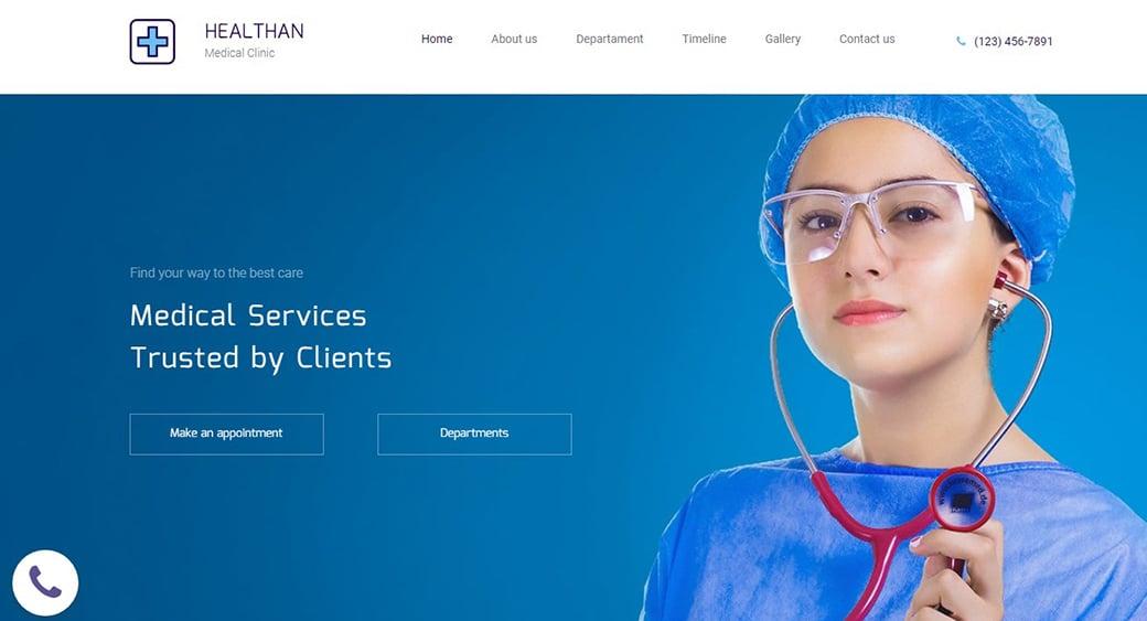 dark blue medical website