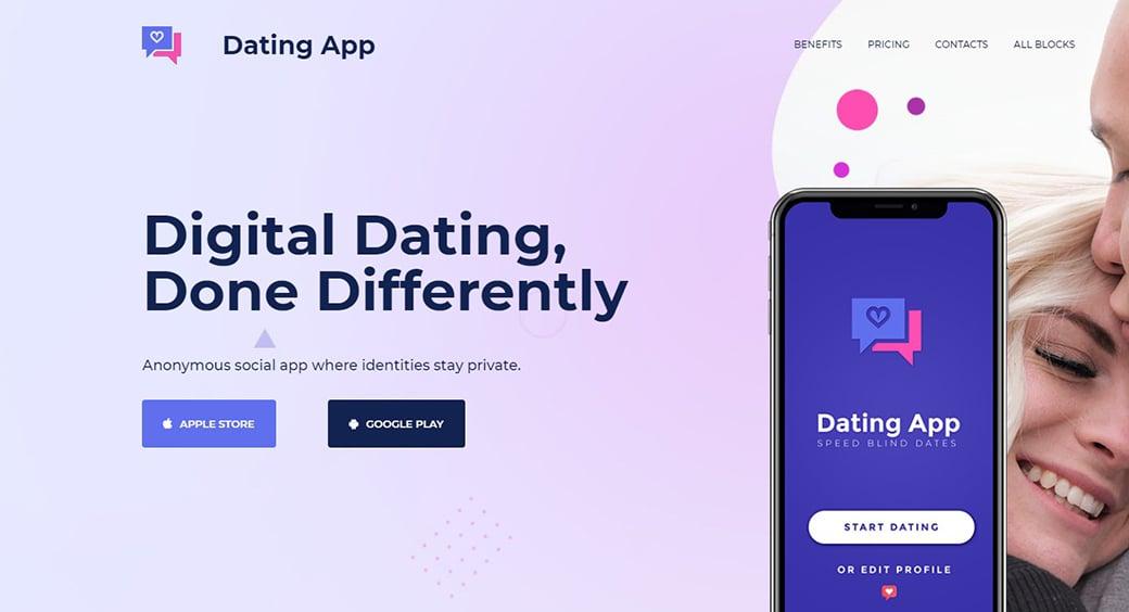dating app website design