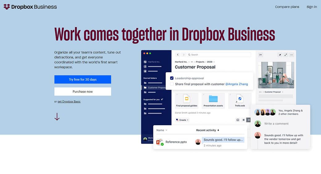 Dropbox Business for managing projects