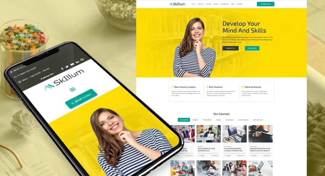 yellow and green website design