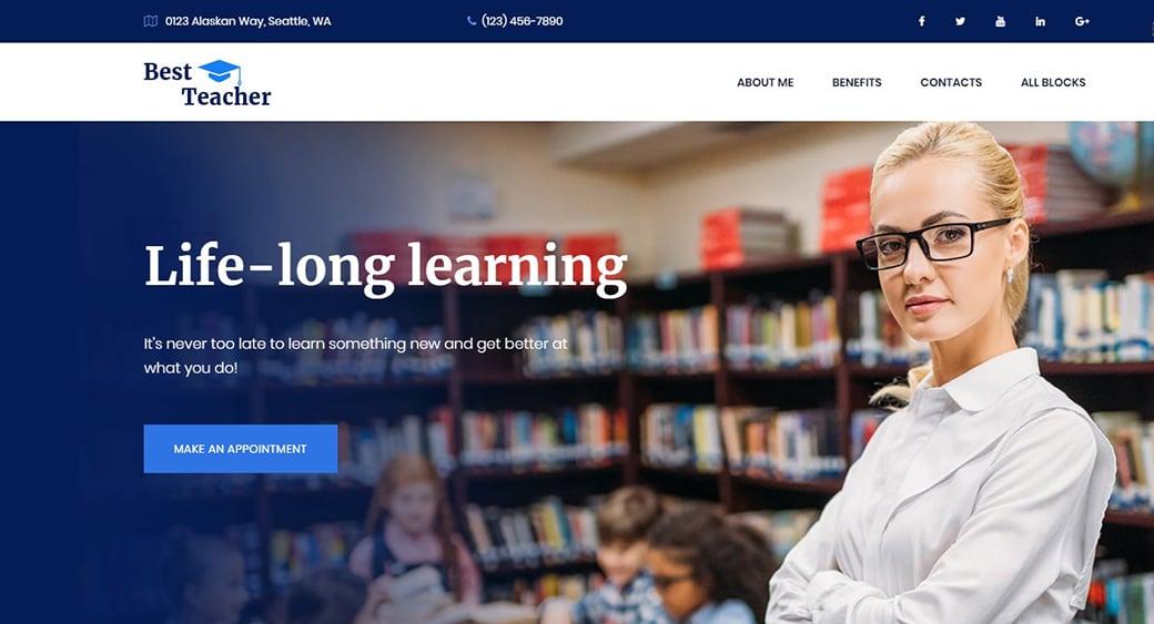 Education Landing Page Design for Teacher