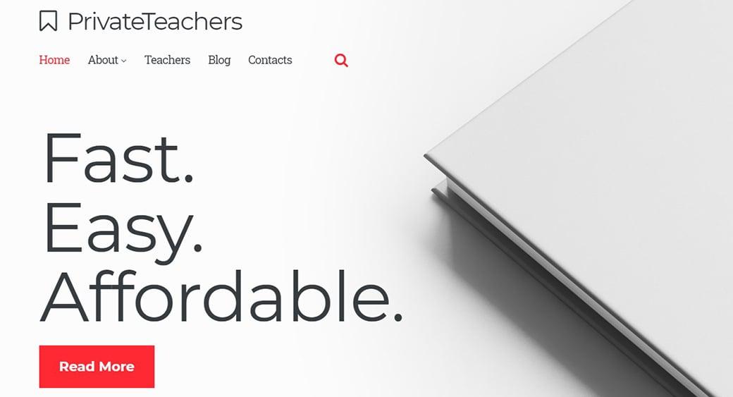 Private Tutor Website Template for Teachers