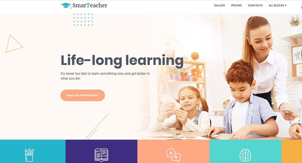 Teacher Website Design Template for One-Page Site