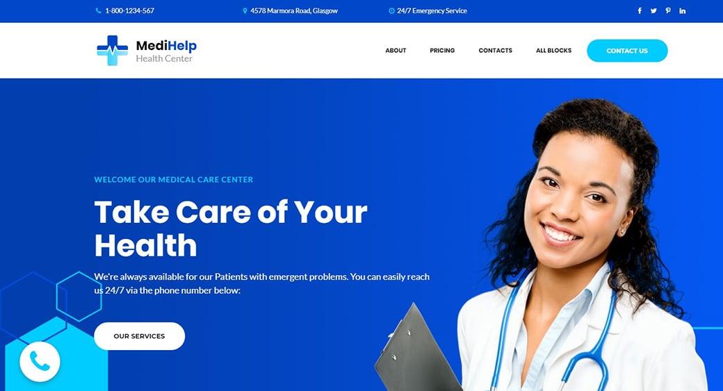 blue medical website design