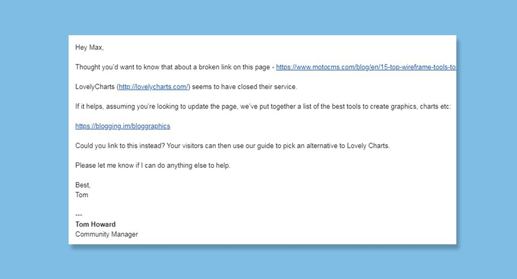 broken link outreach email example