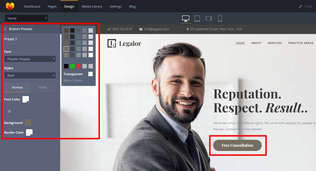 button presets for web design