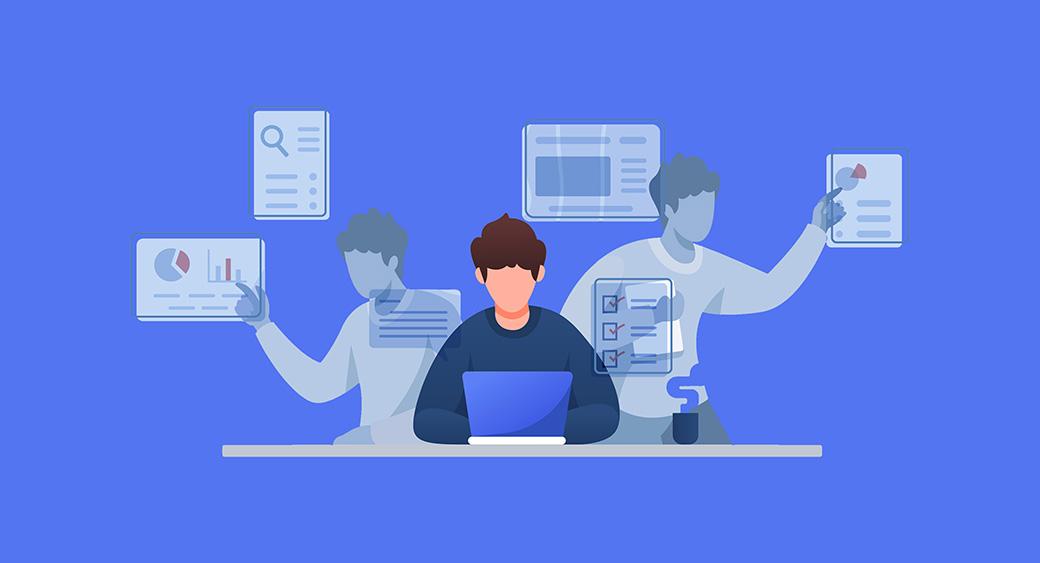 multitasking at freelance job