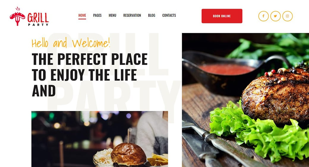 grill website with lucrative images