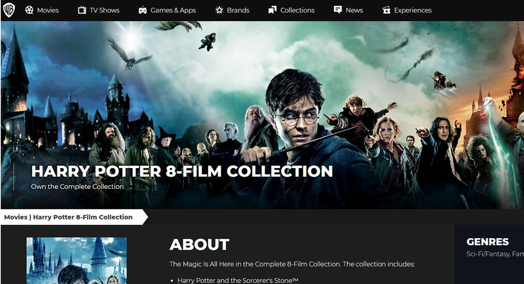 harry potter website visual content vs text content