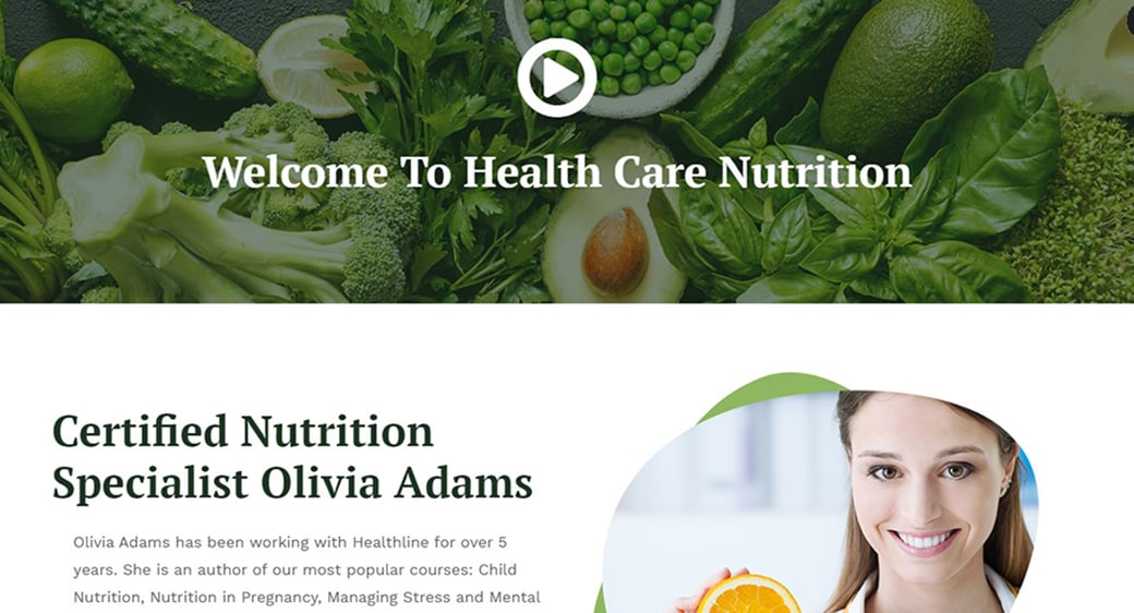 health nutrition website with video