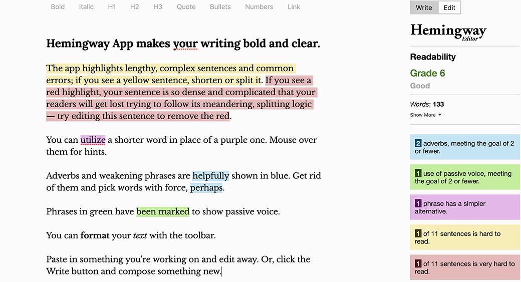 hemingway content editing tool