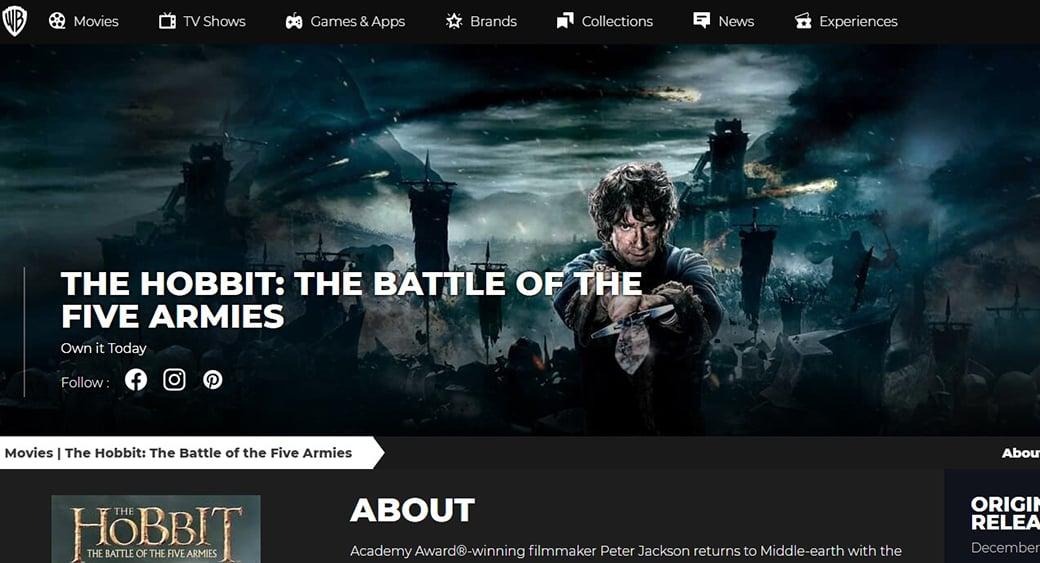 hobbit website visual content vs text content