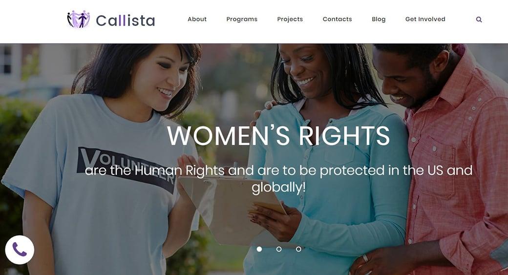 human rights organization website design