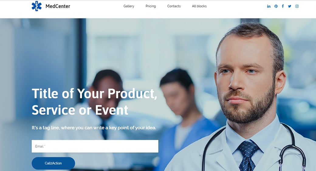 medical landing page template
