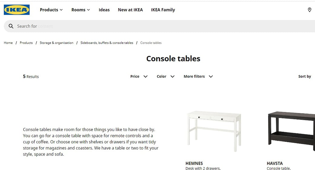 ikea product listing page