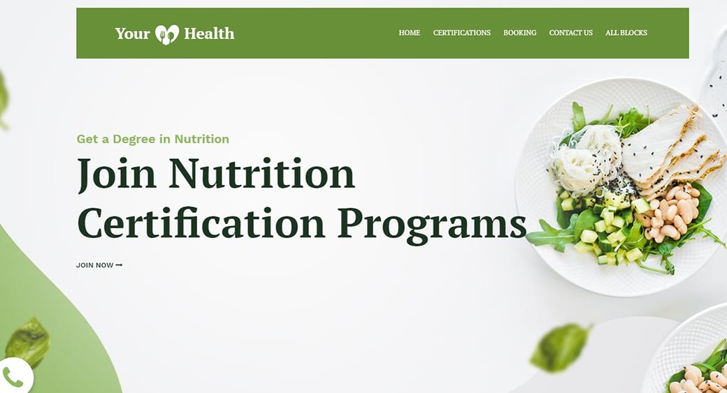 nutrition landing page template with white space