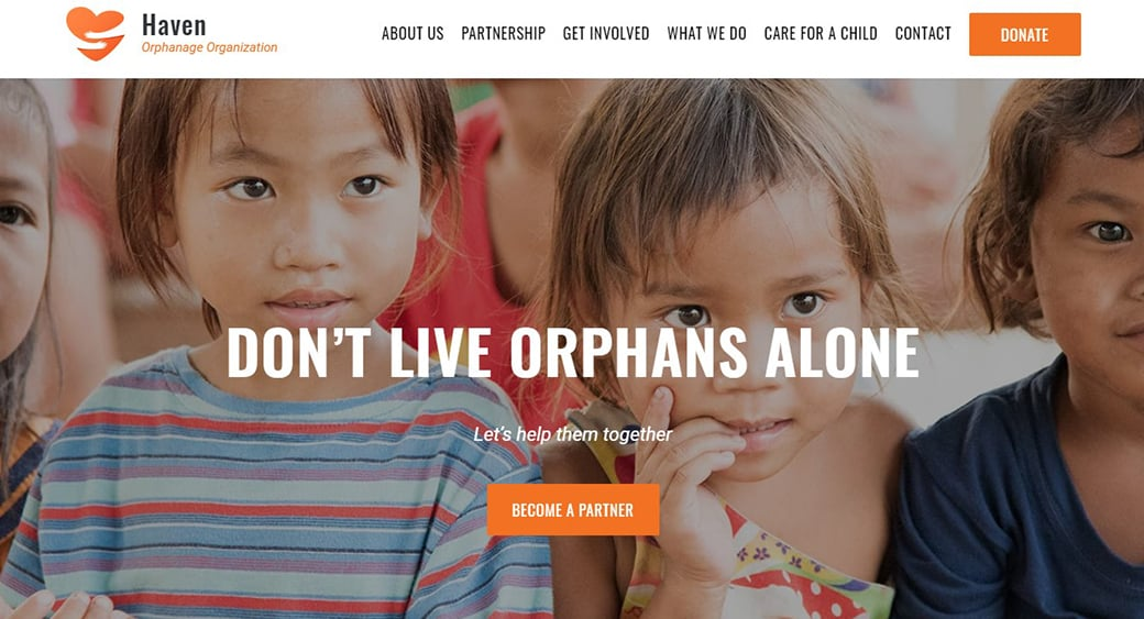 orphanage organization website template