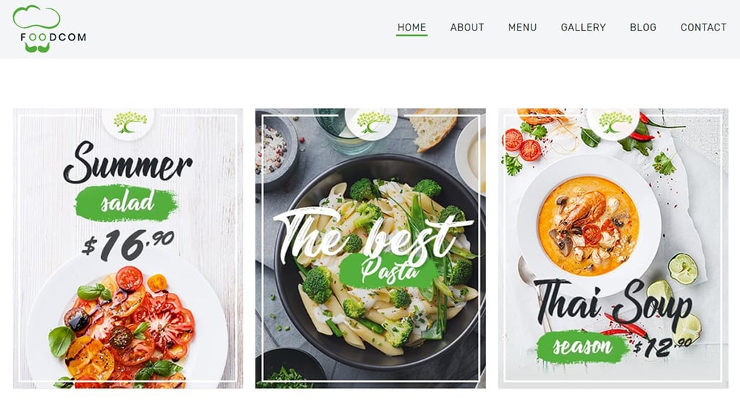 product visuals of food and restaurant website