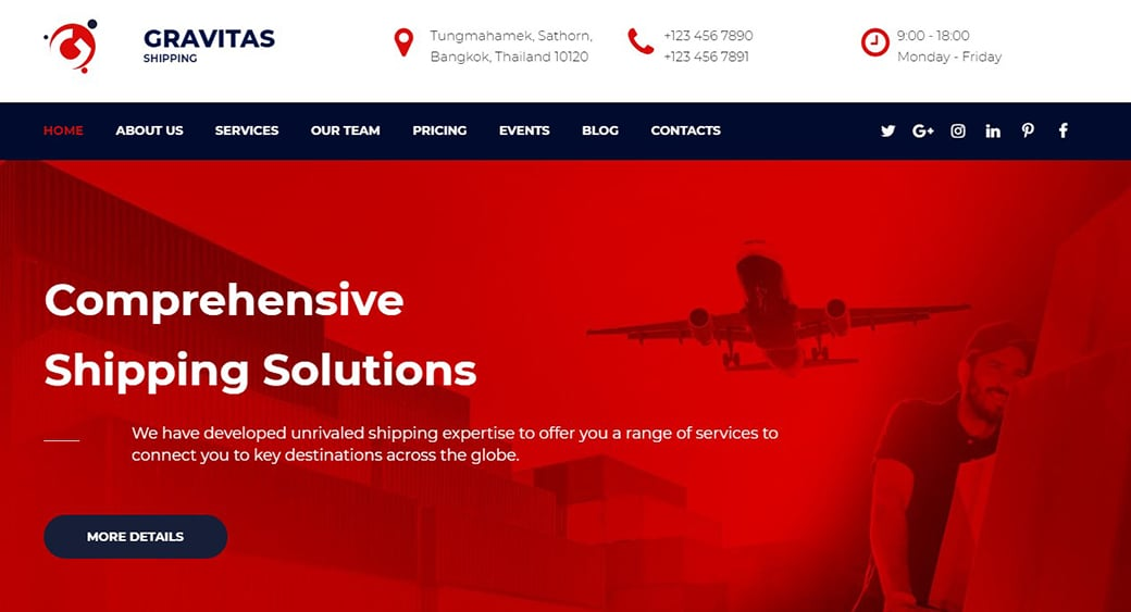 red shipping website design
