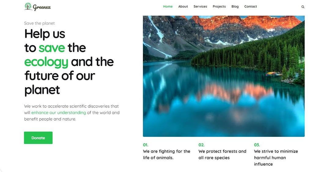 save the planet web design