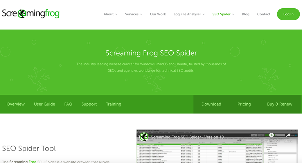 screaming frog SEO content scanning tool