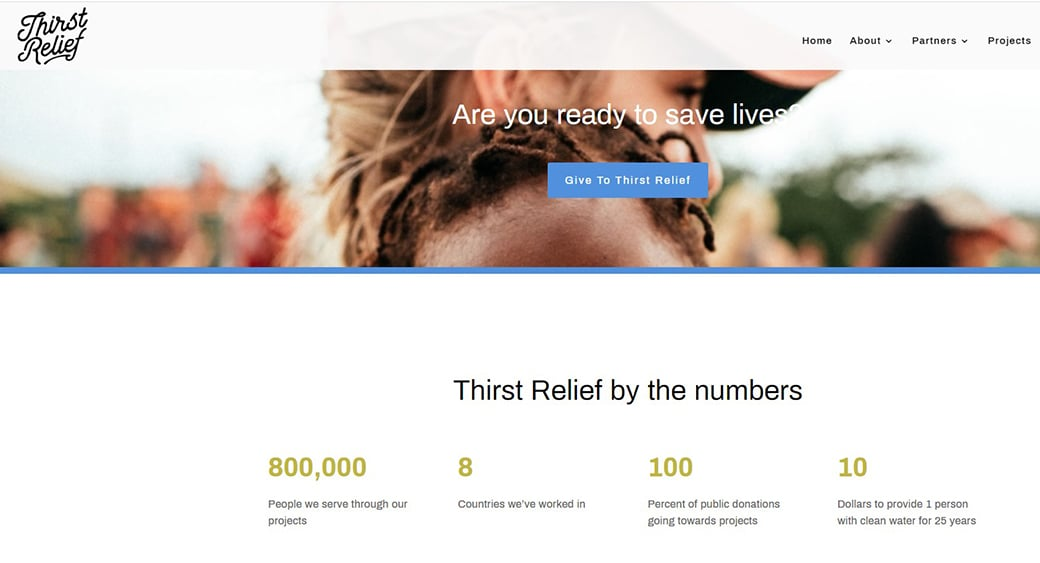 thirst relief charity website
