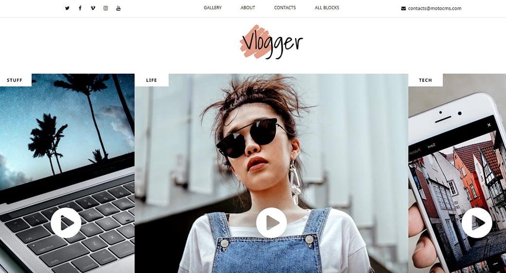 video blogger website design