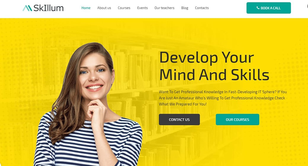 yellow teaching website design