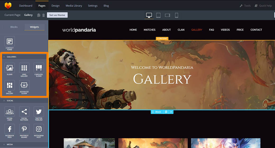 gallery to make a game website