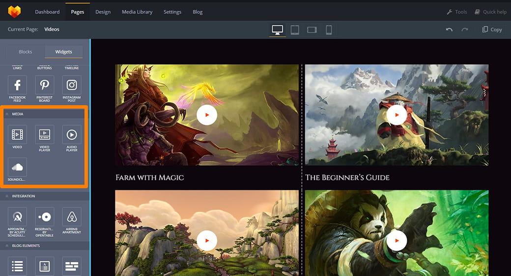 adding videos to game webpage
