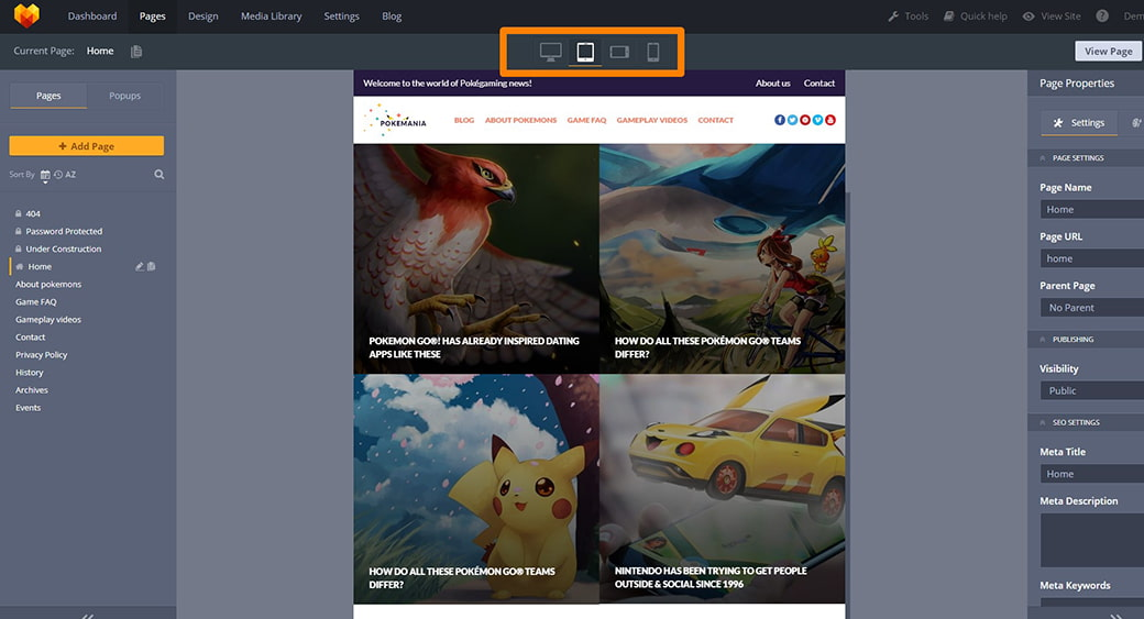 responsive design of gaming site