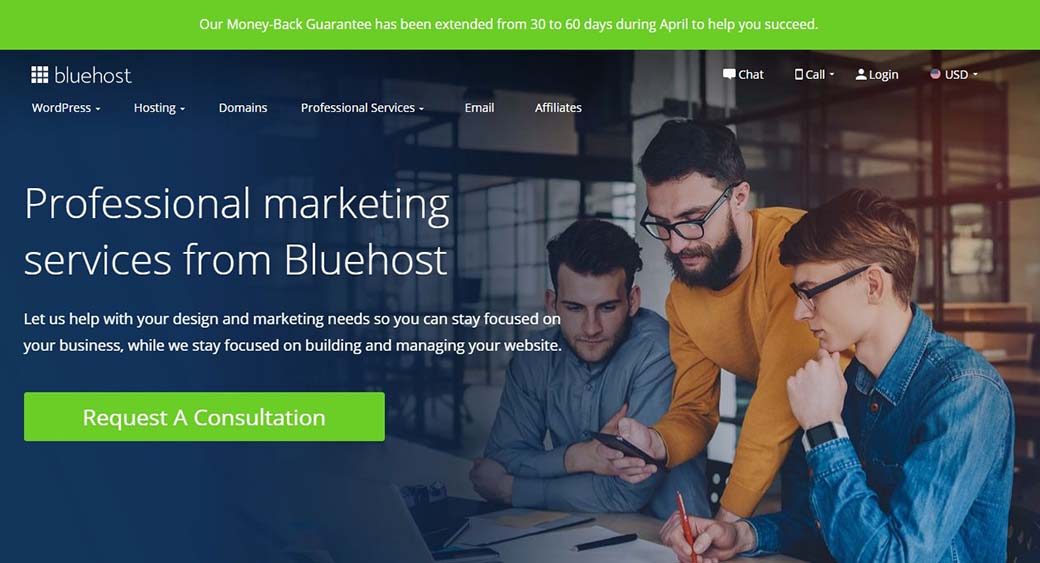 marketing services by Bluehost