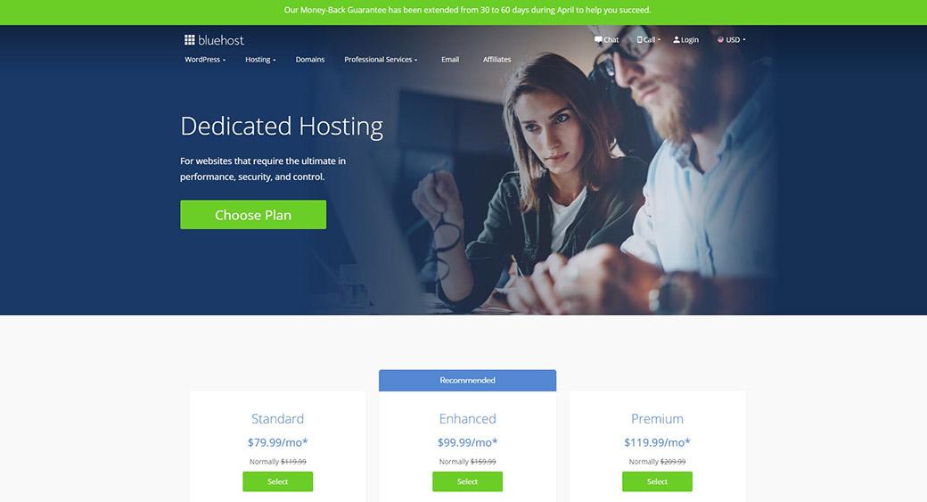 dedicared hosting by Bluehost
