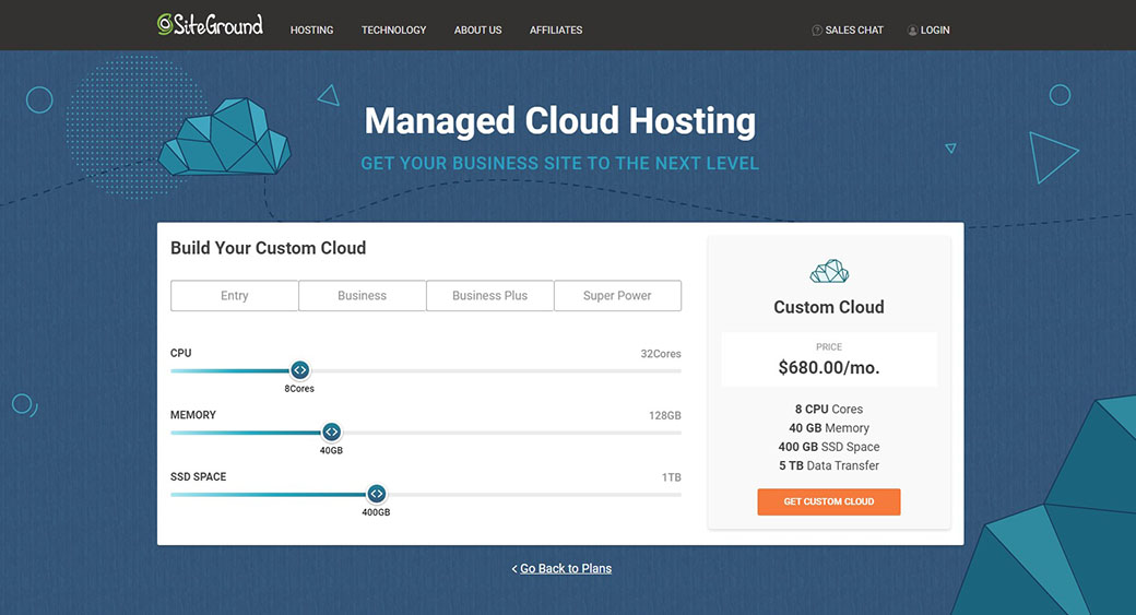 managed cloud hosting by SiteGround