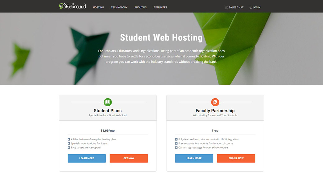 hosting for education by SiteGround